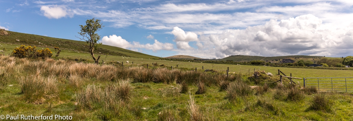 A view across the landscape in the western end of the Preseli Hills in north Pembrokeshire, Wales, with fields and open moorlands.