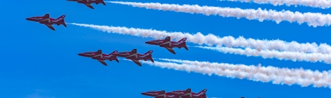 The RAF Red Arrows displaying at the Swansea Airshow 2017