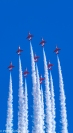 The RAF Red Arrows in 'Diamond 9' formation, displaying at the Swansea Airshow 2017