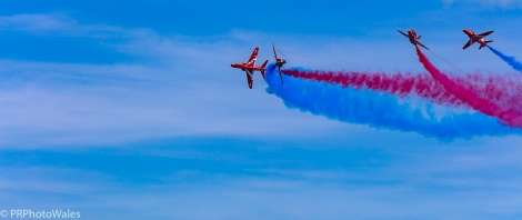 The RAF display team, the Red Arrows performing their thrilling aerobatic display